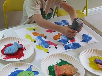 Sponge painted fish nature crafts seahorses and activities for Fish activities for preschoolers