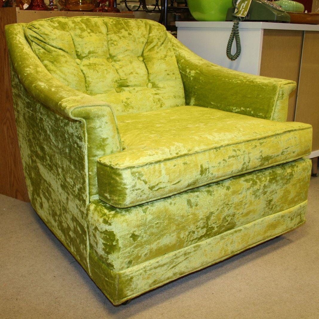 Kroehler Bedroom Furniture Pair Of Chartreuse Green Crushed Velvet Kroehler Lounge Chairs
