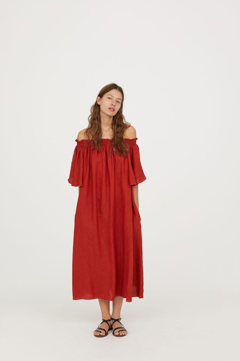 b9f7034bcca8 Off-the-shoulder Dress | Red-orange | WOMEN | H&M US | Capsule ...