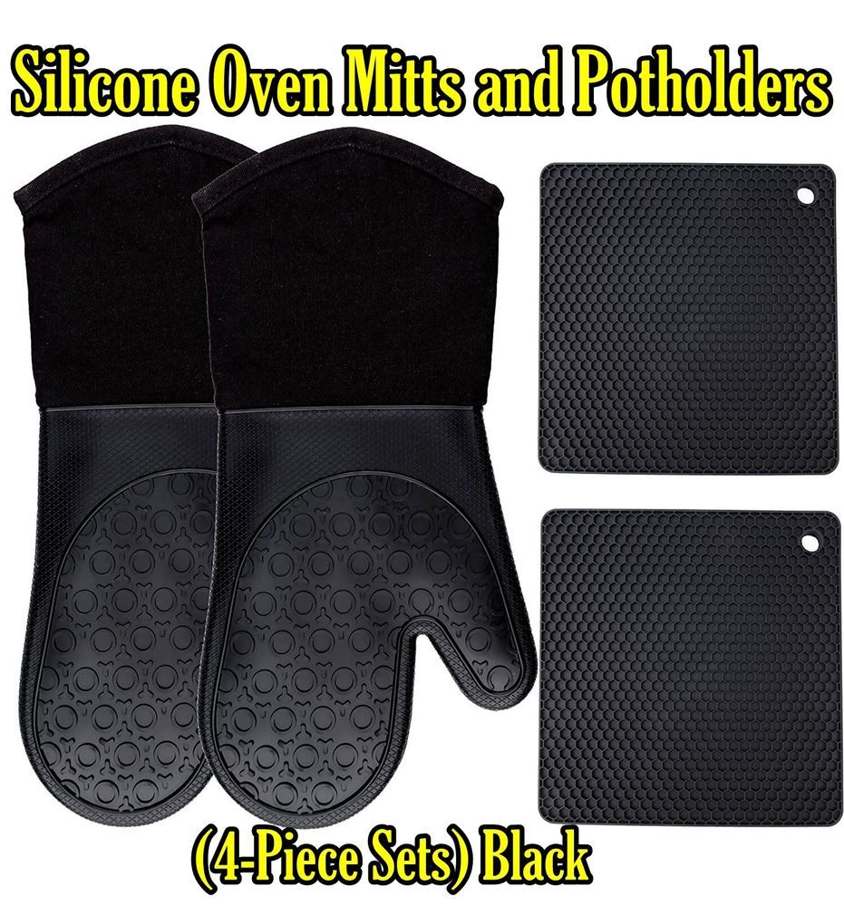 Homwe Silicone Oven Mitts And Potholders 4 Piece Sets Kitchen Counter Safe Trivet Mats Advanced Heat Resistant Silicone Oven Mitt Oven Mitts Pot Holders