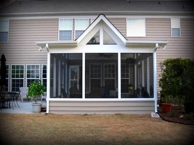 Shed roof with decorative gable for screen porch by Shed with screened porch
