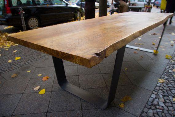 Solid Oak Table Large Oak Slab Tabletop On Steel U Frame Oak
