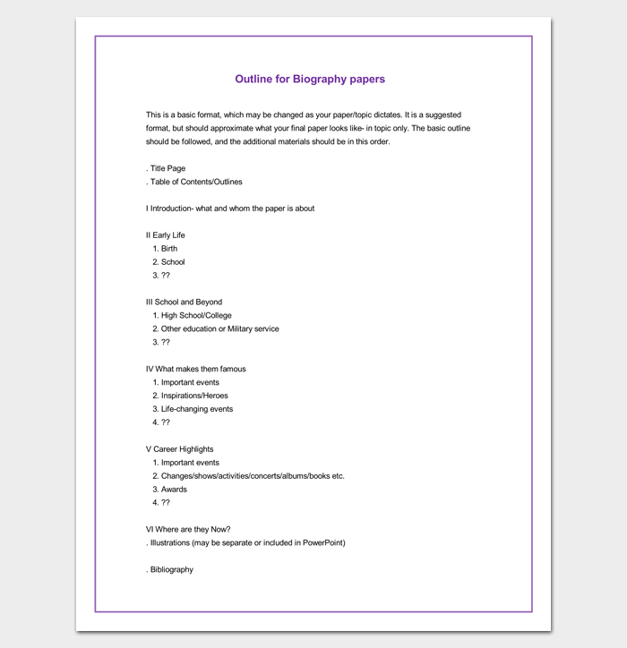 Biography Outline Format