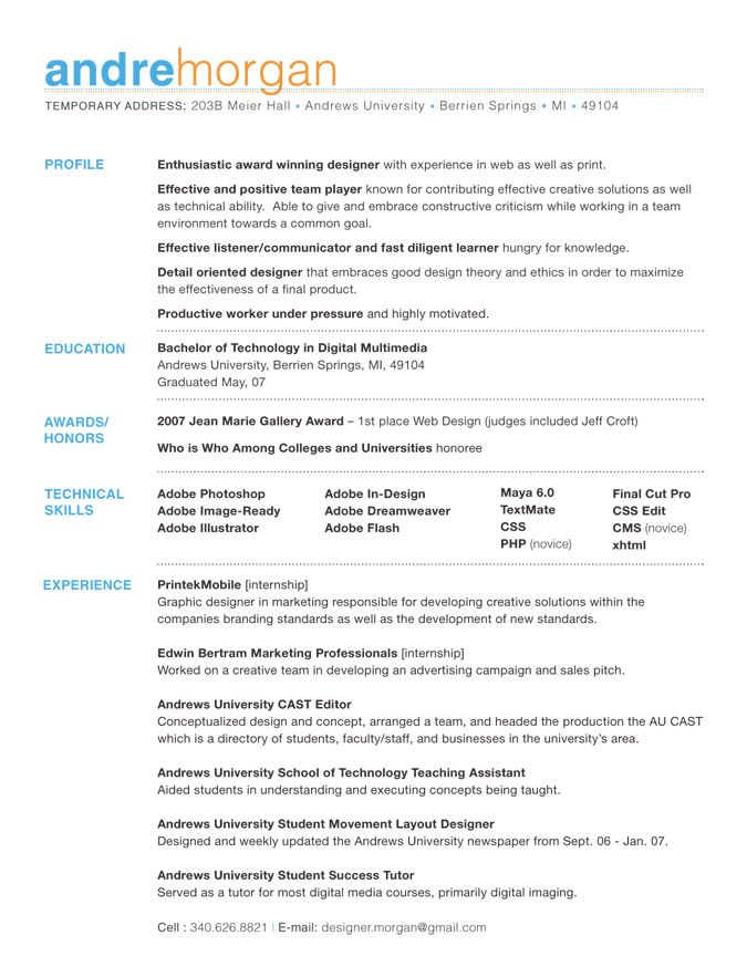 Kleen Résumé Basic colors, Fonts and Resume layout