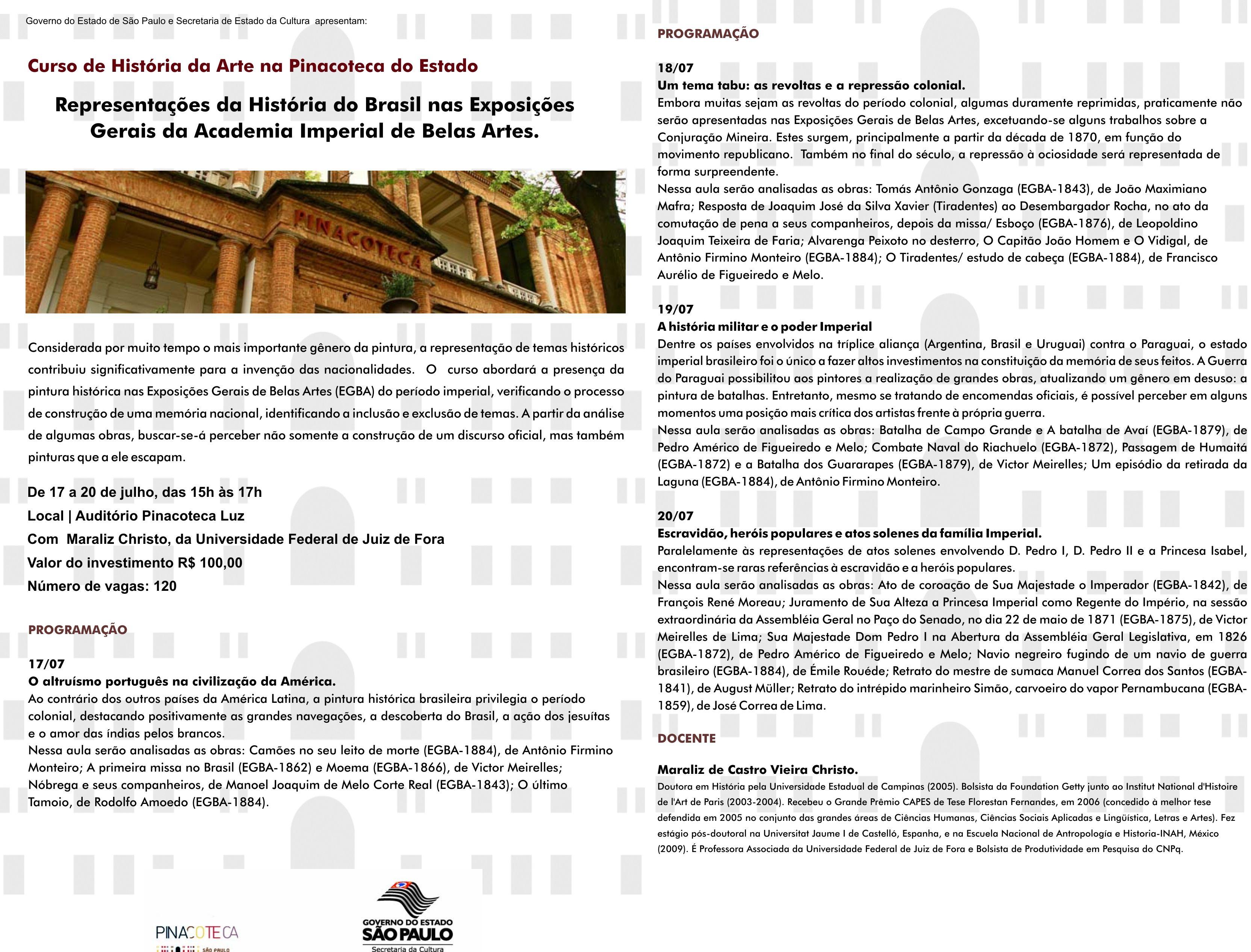 Curso De Ferias Sobre Historia Da Arte Na Pinacoteca Do Estado De