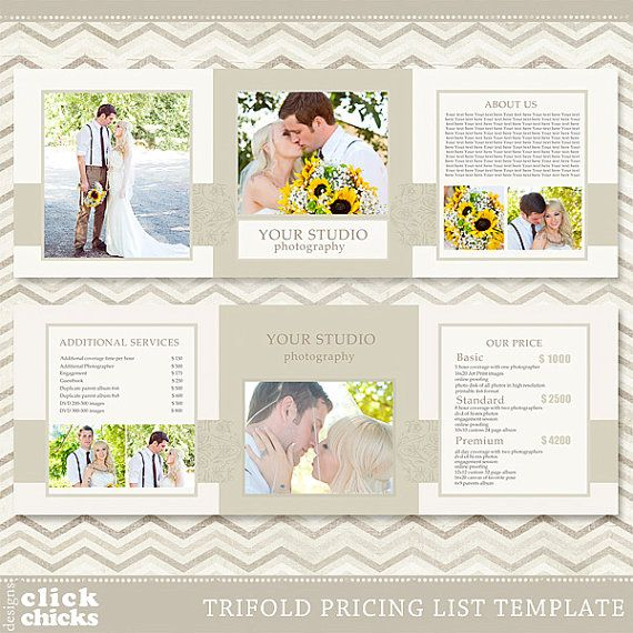 Trifold Pricing List Template  Photography Pricing Guide  Price