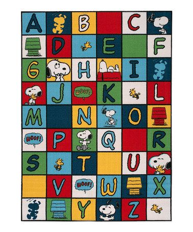 love this snoopy alphabet rug on zulily zulilyfinds perfect for classroom or playroom