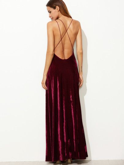 37bf185ef Shop Burgundy Strappy Backless Velvet Wrap Dress online. SheIn offers  Burgundy Strappy Backless Velvet Wrap Dress & more to fit your fashionable  needs.