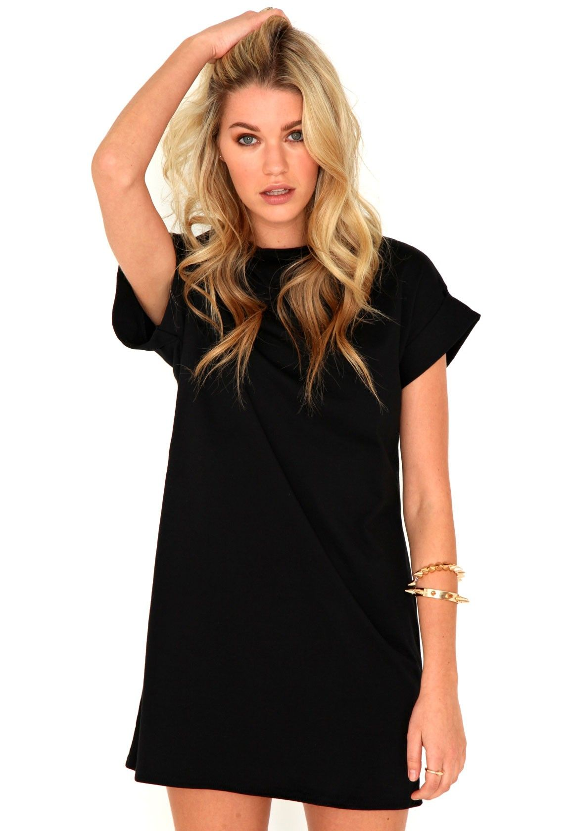 Black shirt dress -  Davina Oversized T Shirt Dress In Black Miss Guided