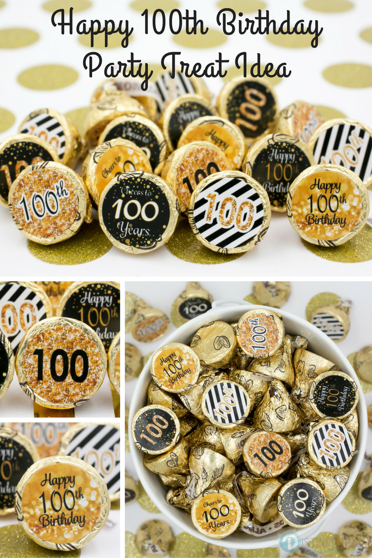 Celebrate This Special Birthday Milestone With These Gold And Black 100th Party Favor Stickers That Will Be A Sure Hit At Your