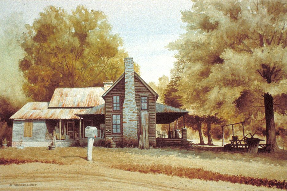 Old Country Farm Houses Paintings Country House Old