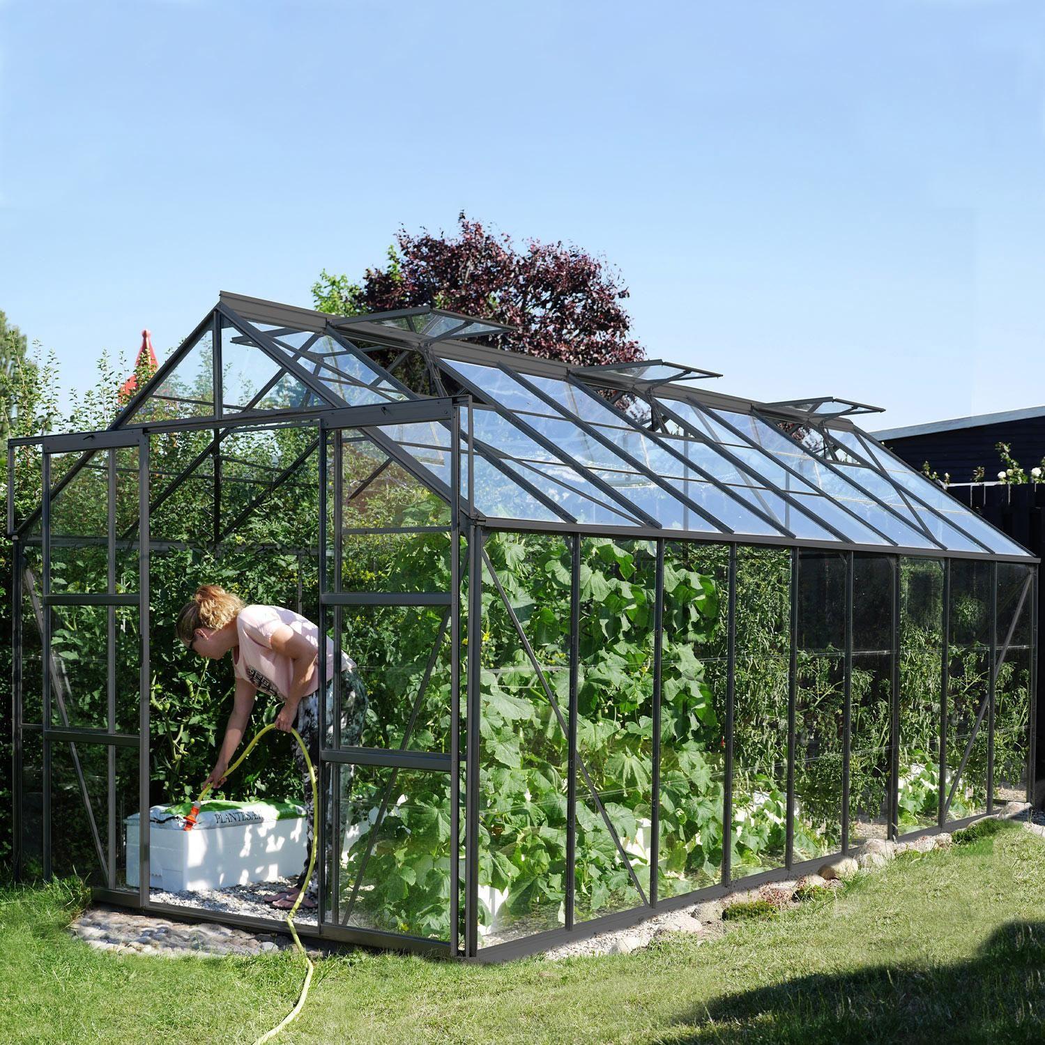 Serre De Jardin En Verre Trempe 3mm Lams Laurus Uranus 14500 Anthracite 14 5 M Lams En 2020 Serre Jardin Jardins Et Paroi Verre