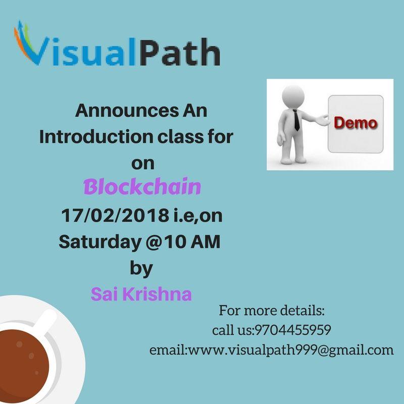 Attend a Demo Session for #Blockchain course @Visualpath