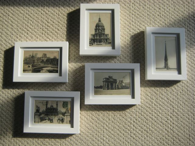 Frame postcards from your travels and make a wall collage of these ...