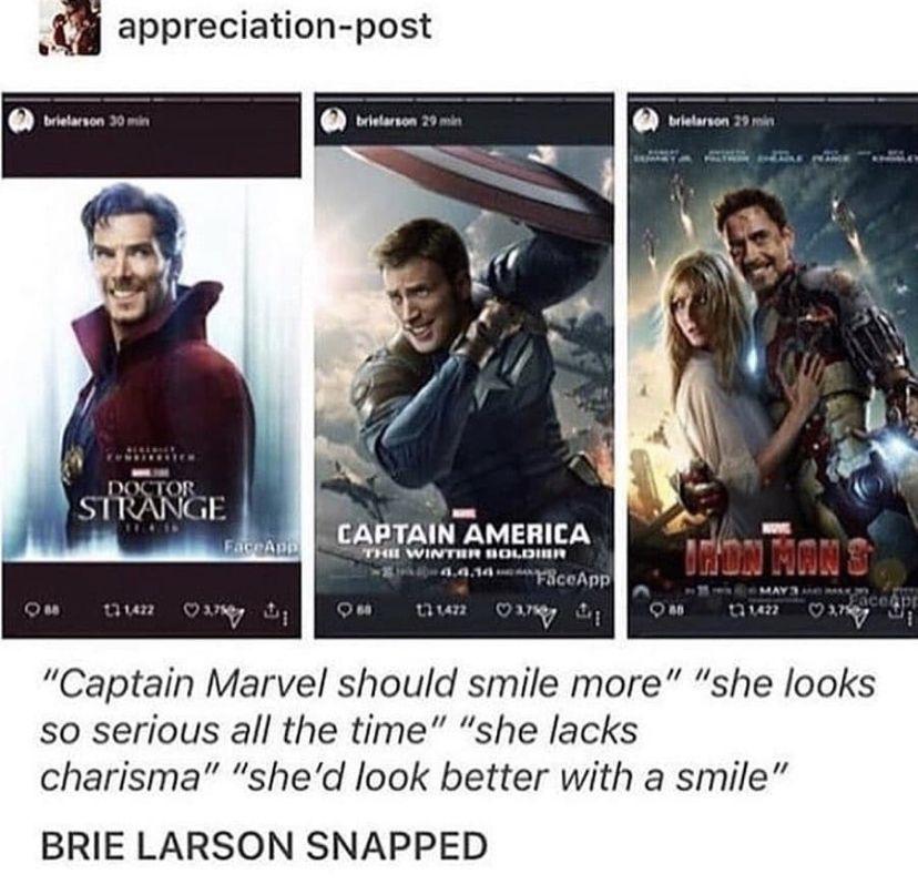 Brie Larson S Instagram After Reviewing Criticism For Not Smiling Enough Funny Marvel Memes Marvel Avengers Marvel Memes