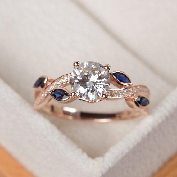 Moissanite Ring, 14 Karat Roségold Ring, Moissanite Verlobungsring, Trauringe Roségold, Runds…
