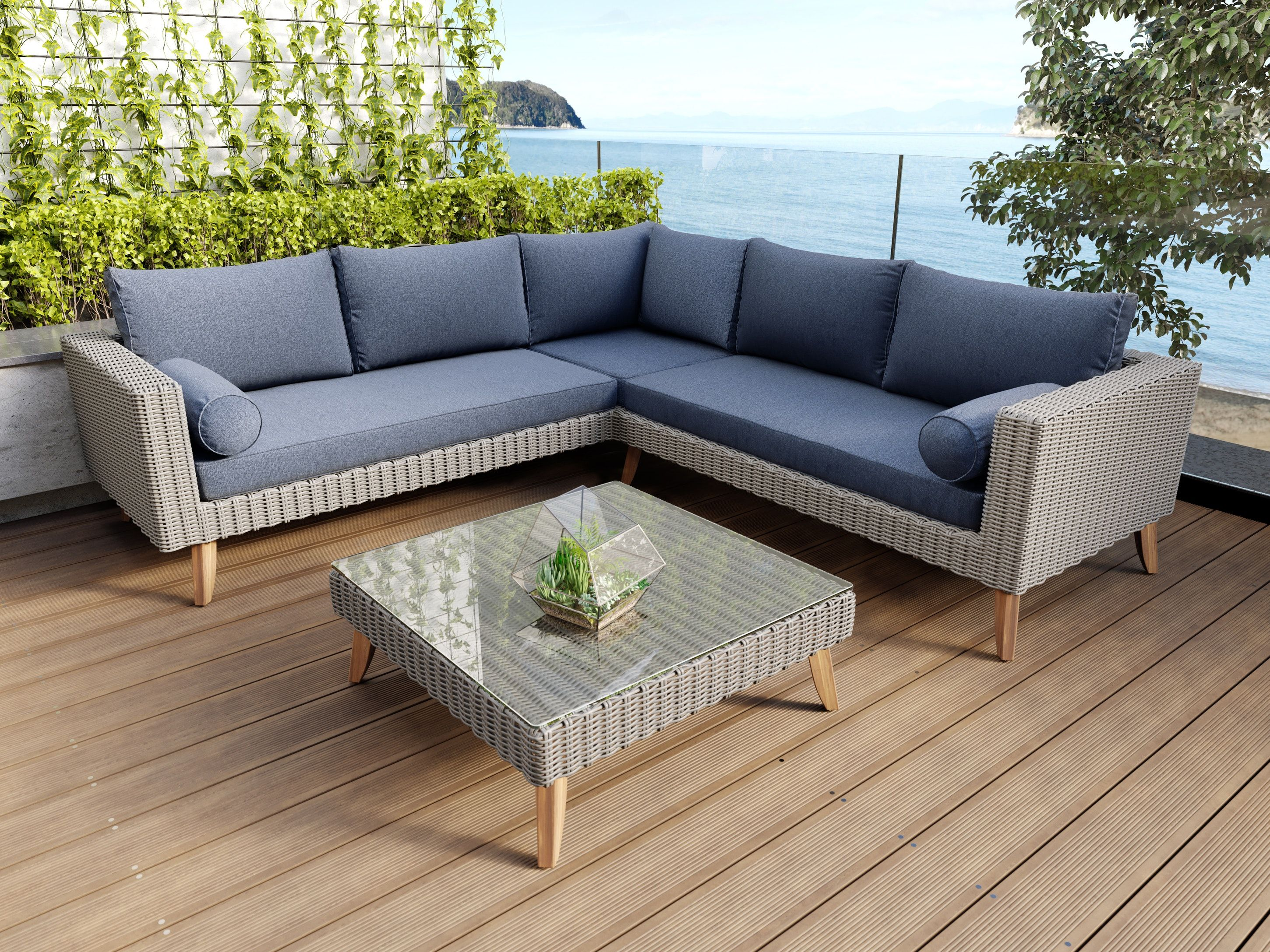 Palm Springs Rattan Corner Suite Outdoor Furniture Nz Outdoor Furniture Outdoor Lounge Set