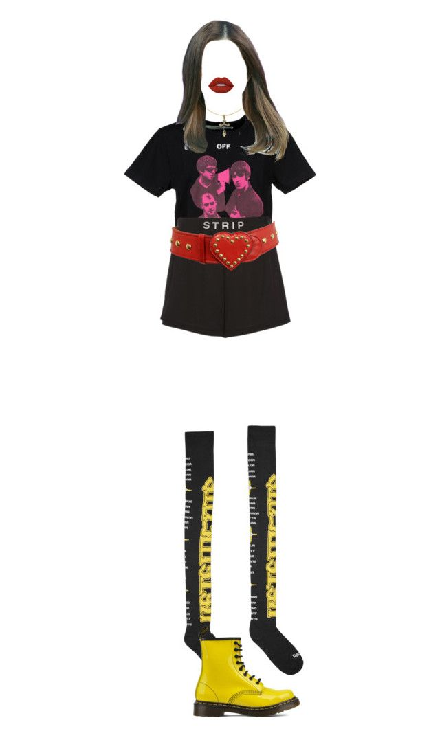 """""""{ random"""" by xxzodiacentertainmentxx ❤ liked on Polyvore featuring Vetements, Dr. Martens, Off-White, Alexander Wang, Moschino and Lime Crime"""