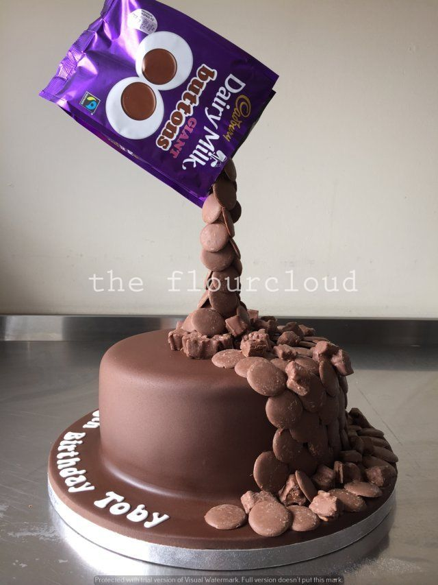 Pouring chocolate buttons birthday cake. #gravitycake