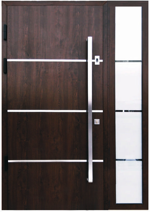 Sofia stainless steel modern entry door in walnut for Modern front doors