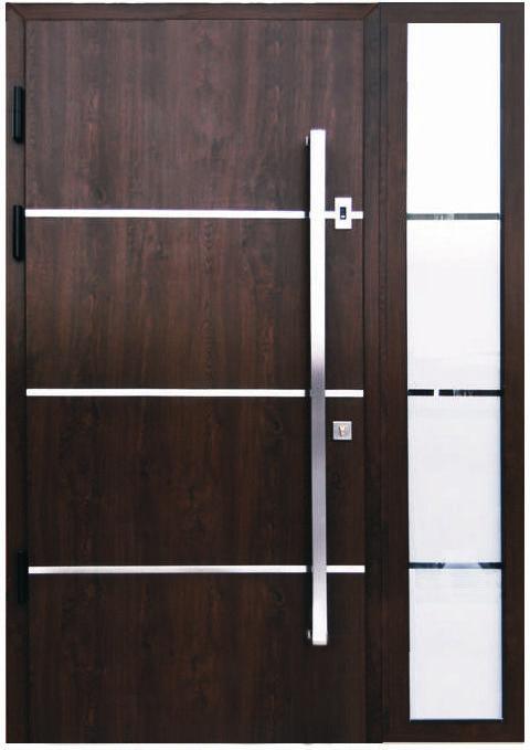 Sofia Stainless Steel Modern Entry Door In Walnut Finish Door Handles Modern Modern Entry Door Contemporary Front Doors