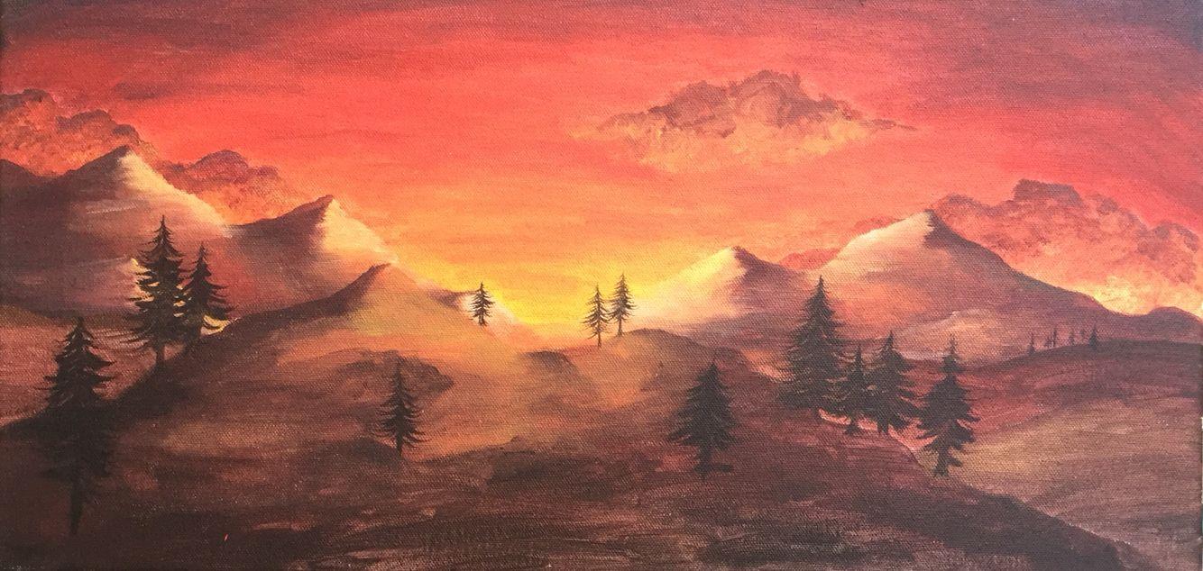 A Landscape Painting With An Analogous Color Scheme Landscape
