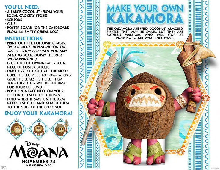 cinema craft make your own kakamora printable crafts easy crafts for kids