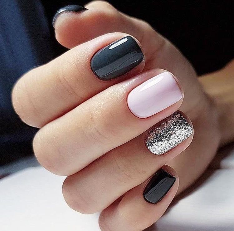 Dark Grey Light Pink And Glitter Nails Accent Nail Designs Classy Nail Designs Classy Nails