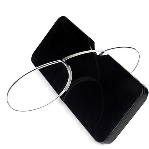 3eb7da3082f Pince-nez Reading Glasses 1.0 to 3.5 Portable Wallet Reader with Case nose  clip on Mini reading glasses with case