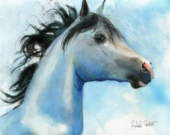 Items similar to Chestnut Arabian Quarter Horse Art Print of Watercolor Painting Gift for the Horse Lover on Etsy