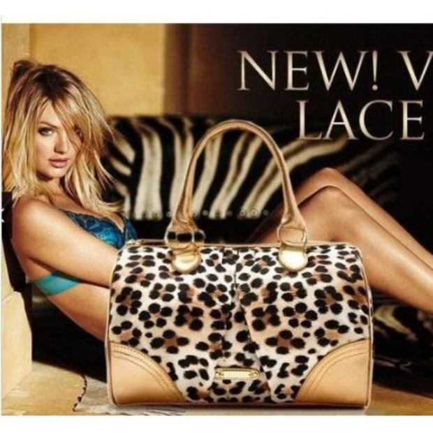 Victoria's Secret Gold leopard print satin tote purse handbag
