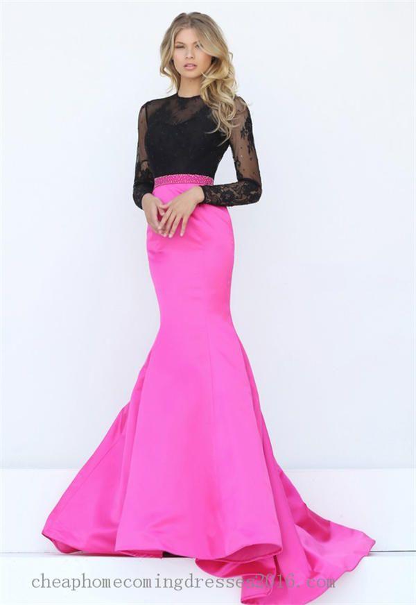 2017 Sherri Hill 50916 Beaded Lace Long Sleeves Mermaid Prom Dresses ...
