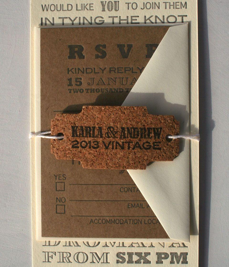Cork Wedding Invitations: Custom Letterpress Wedding Invitation Order Featuring