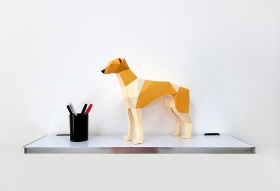 Photo of DIY Papercraft Greyhound dog sculpture,3d Papercraft templates,Lowpoly dog,Paper sculpture,paper mod