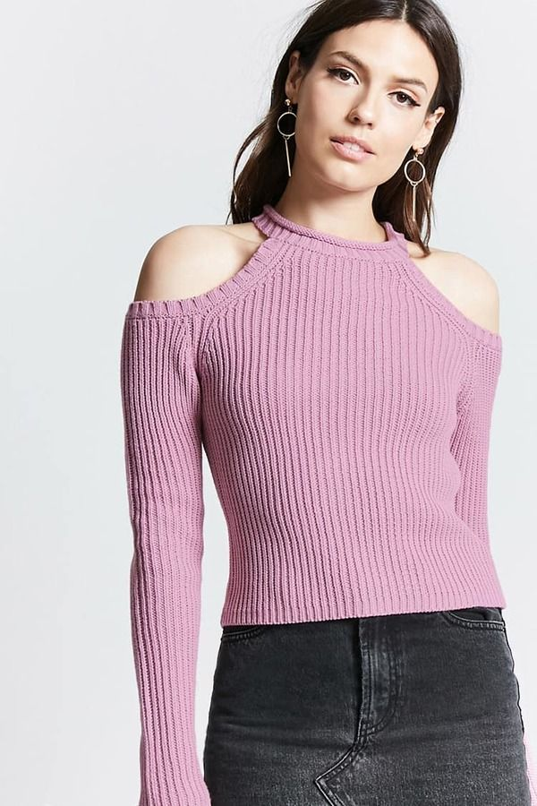 deec8af71f6275 Forever 21 Ribbed Open-Shoulder Sweater