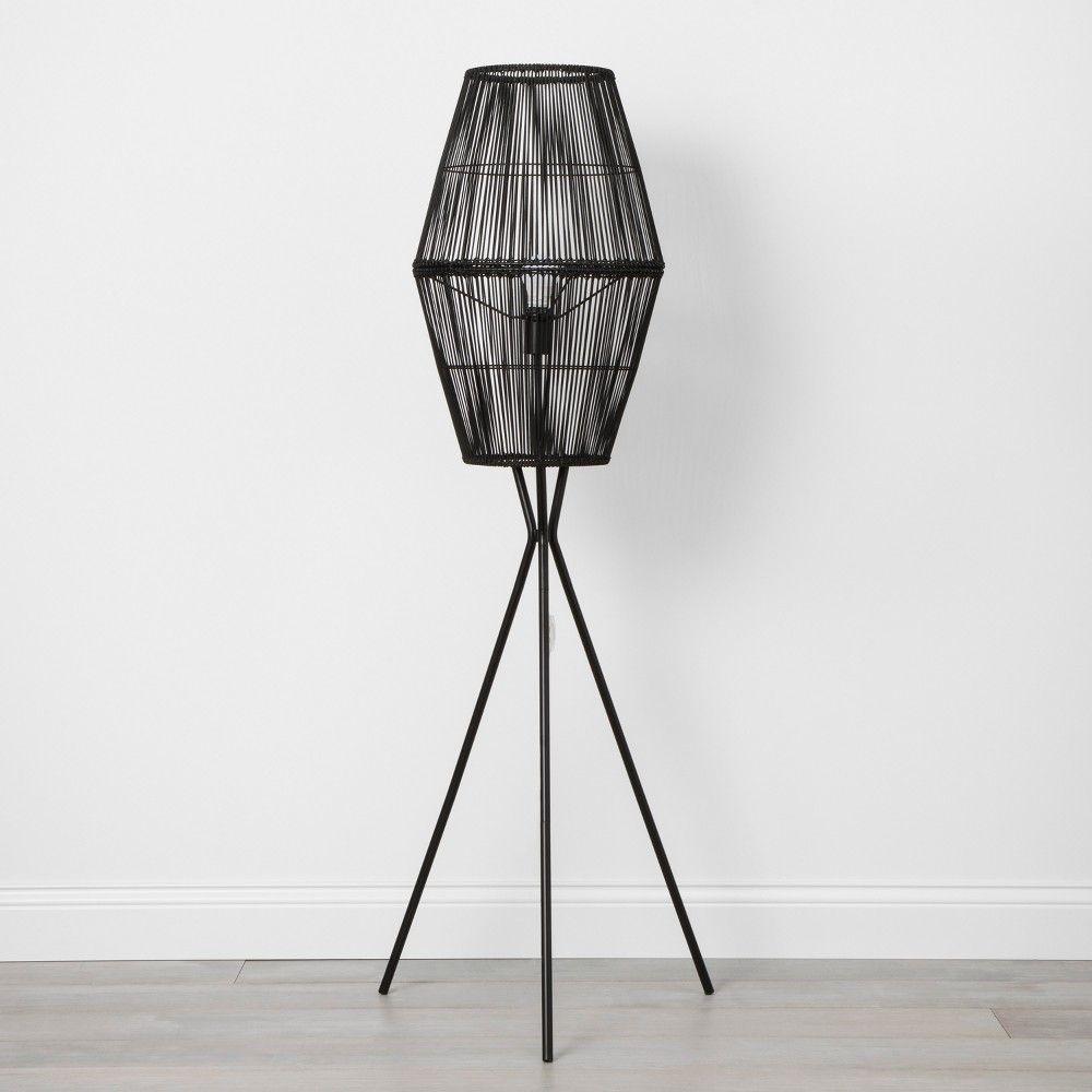 Rattan Diamond Tripod Floor Lamp Black Opalhouse In 2021 Black Floor Lamp Target Floor Lamps Tripod Floor Lamps