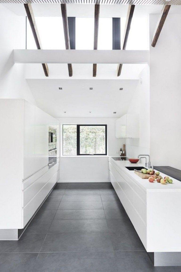 40+ Cozy White Kitchen Dark Floors Ideas #darkflooring