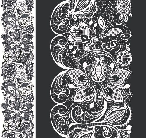 White Lace elements vector 01 | Pattern border