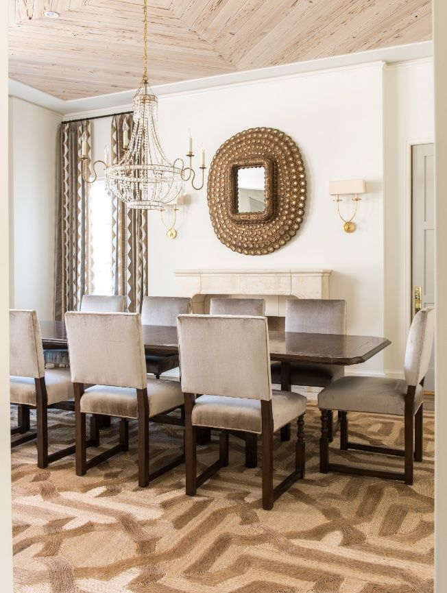 Long Polished Wooden Table With Large Cushioned Chairs Fireplace Impressive Decorative Mirrors Dining Room 2018