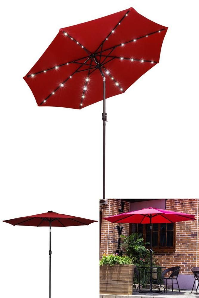 Lighted Umbrella For Patio Outdoor Patio Umbrella 9Ft Durable Led Lighted Solar Powered Tilt
