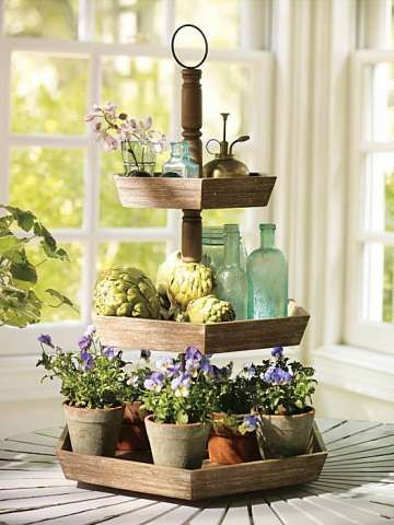 3 Tier Wood Stands Offer Variety Of Uses With Images Wood Tiered Stand Tiered Stand Tiered Tray