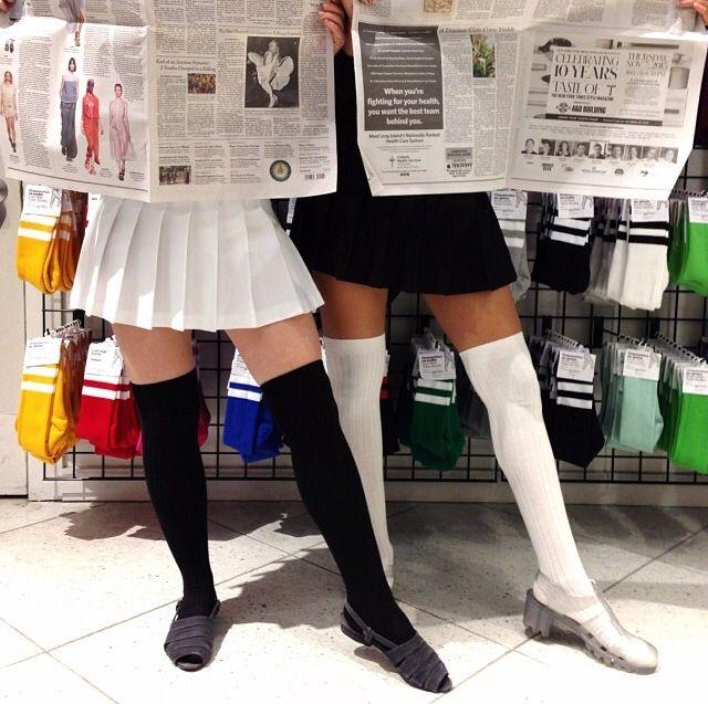 Black White Tennis Skirts Knee High Socks Jellies Rokje