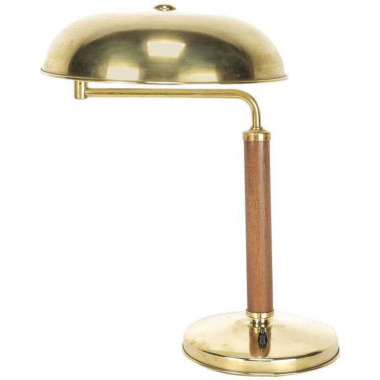 Swiss Bauhaus Desk Lamp Brass Oak By Amba 1940 1stdibs Com Lamp Vintage Table Lamp Desk Lamp