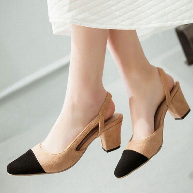 Shoes For Women Chunky Heel Heels Sling back Gladiator Round Toe Sandals Dress Casual Black Pink Beige