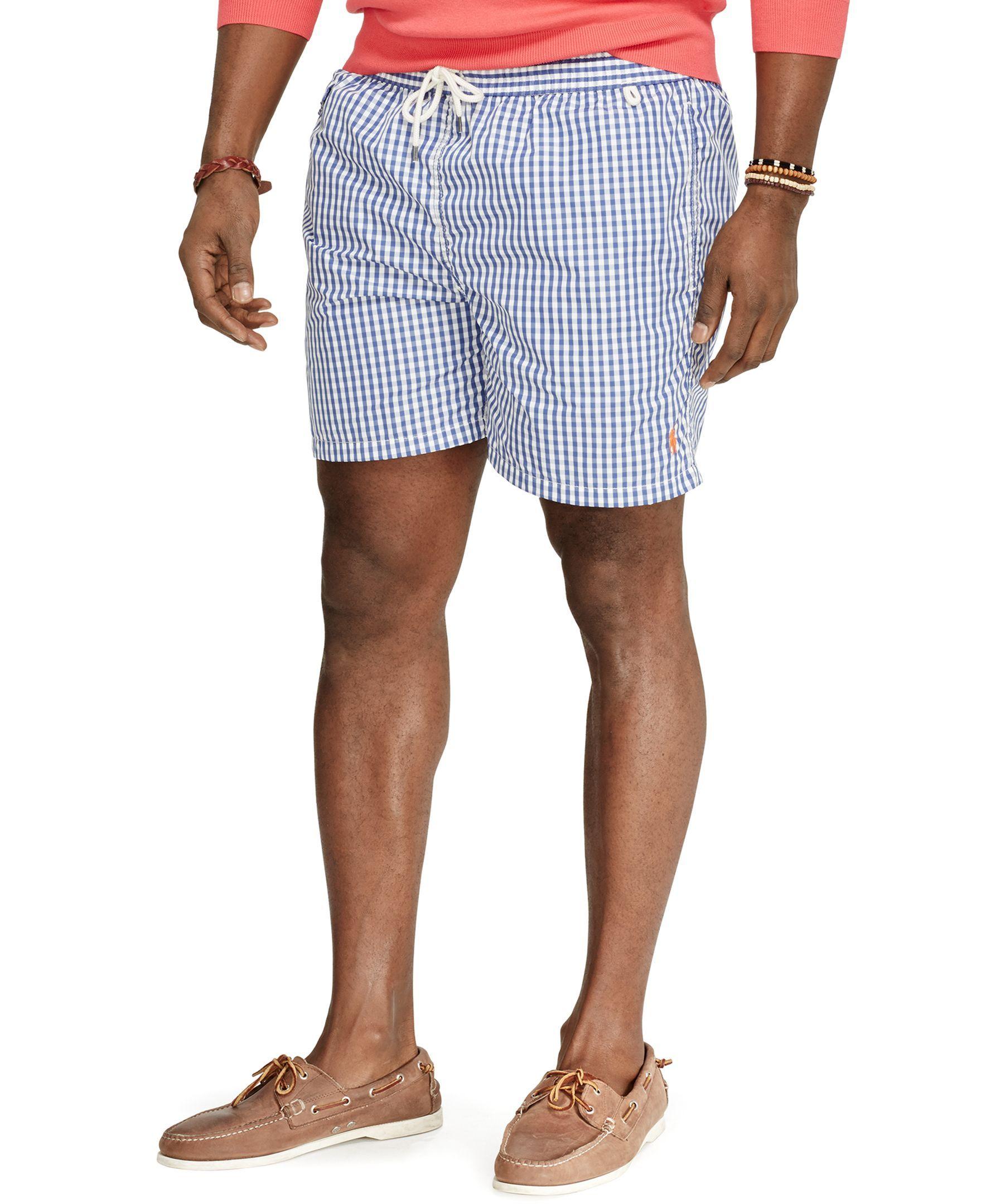 polo ralph lauren big and tall gingham traveler swim shorts
