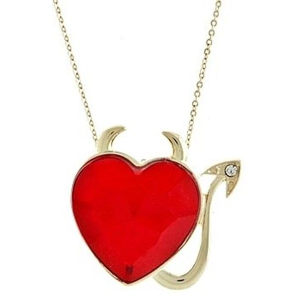 Large Red Multi-Faceted Crystal Devil's Horns Gold Tone Heart Necklace... ($128) ❤ liked on Polyvore featuring jewelry, necklaces, gold tone necklace, red crystal necklace, gold colored necklace, red heart jewelry and horn necklace