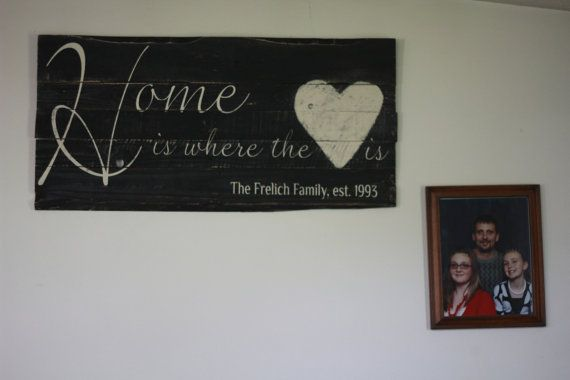 Check out this item in my Etsy shop https://www.etsy.com/listing/216237564/family-est-sign-home-is-where-the-heart