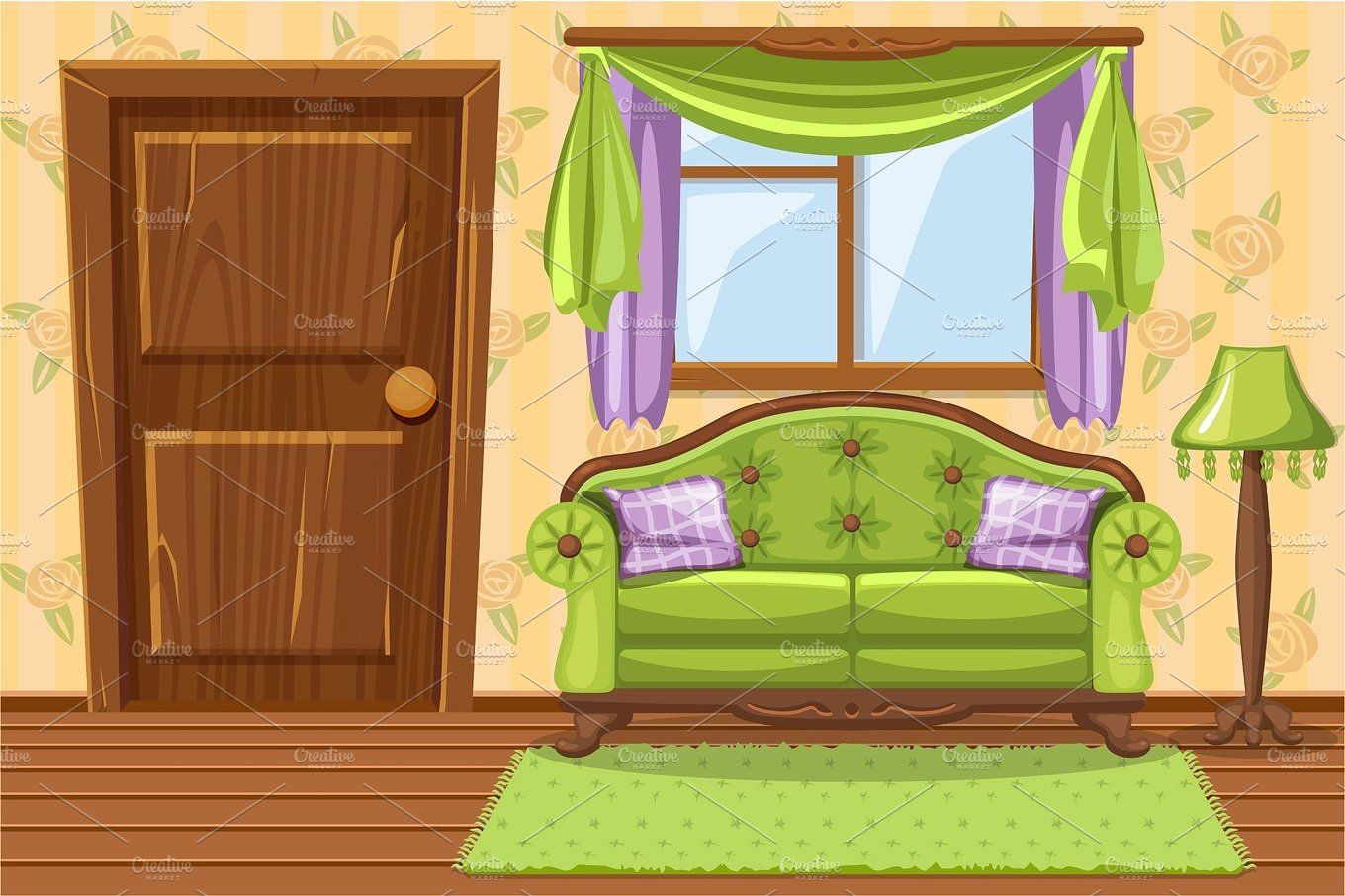 Green Living Room With Furniture Living Room Green Living Room Clipart Vintage Cushions