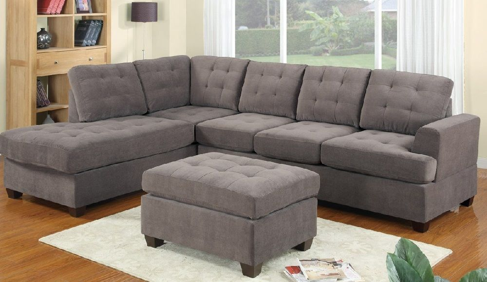 Image Of Charcoal Gray Sectional Sofa With Chaise Lounge And