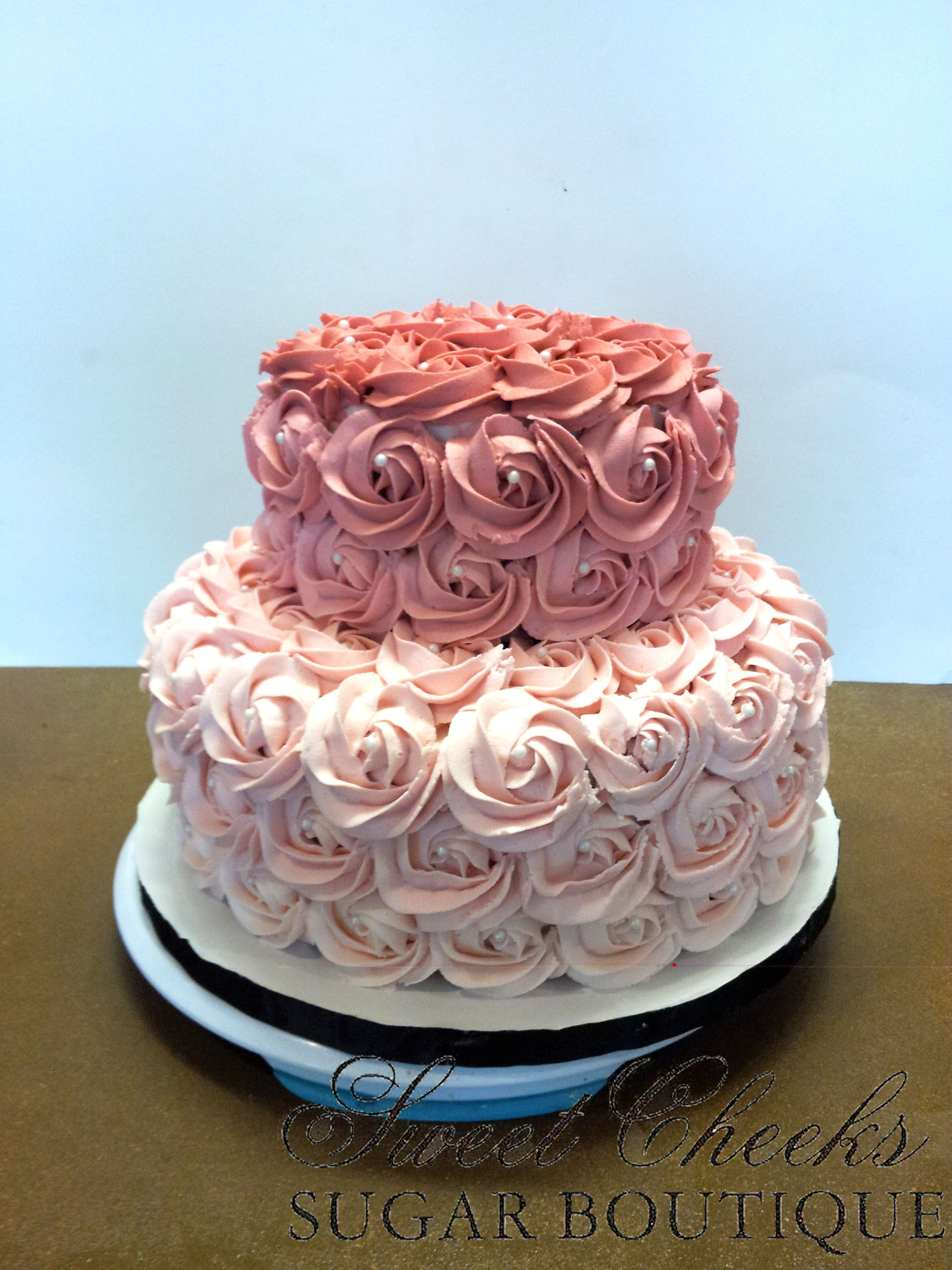 A Beautiful Ombre Vintage Rose Baby Shower Cake Baby Shower